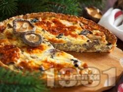 Киш с бекон, лук, гъби и яйца - снимка на рецептата